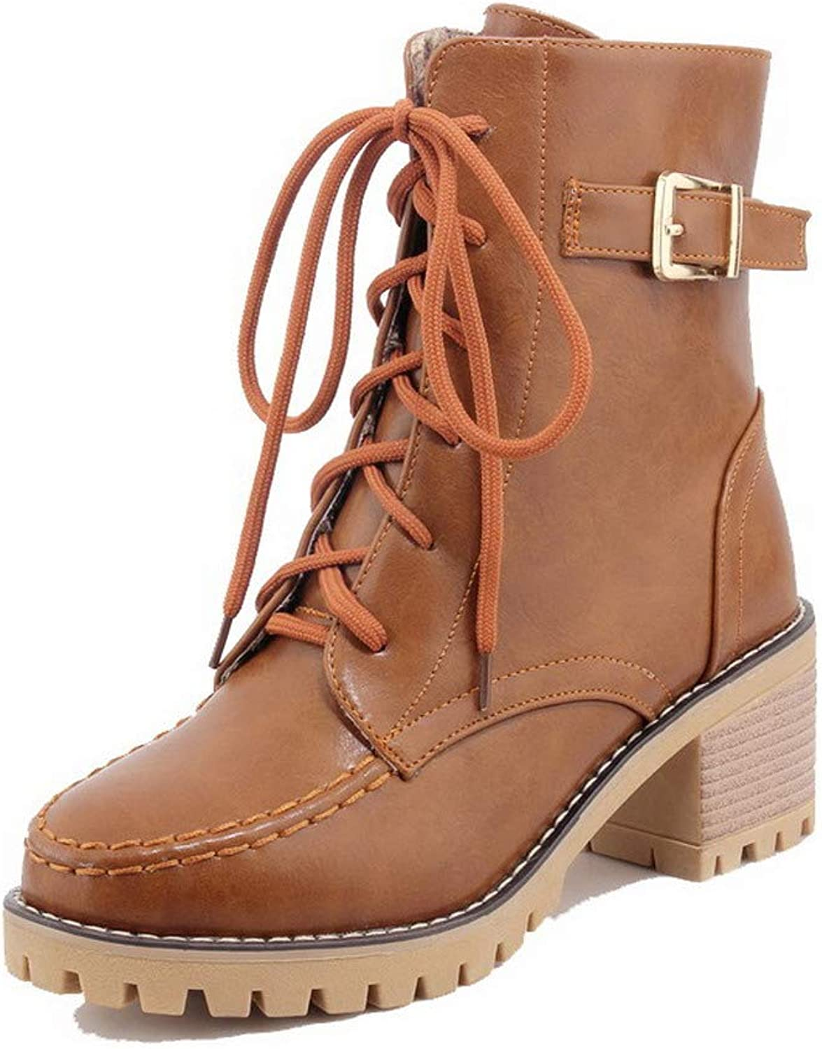 WeenFashion Women's Kitten-Heels Solid Closed-Toe Pu Lace-Up Boots, AMGXX127545