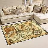 Coosun vecchio pirata mappa con rosa dei venti tappeto tappeto antiscivolo zerbino zerbini per soggiorno camera da letto, Tessuto, Multi, 31 x 20 inch