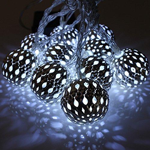 Bluelover 10 LED 3 Compteur Solaire Guirlande Lanterne Fée De Lumière Noël Boulelampe-Blanc