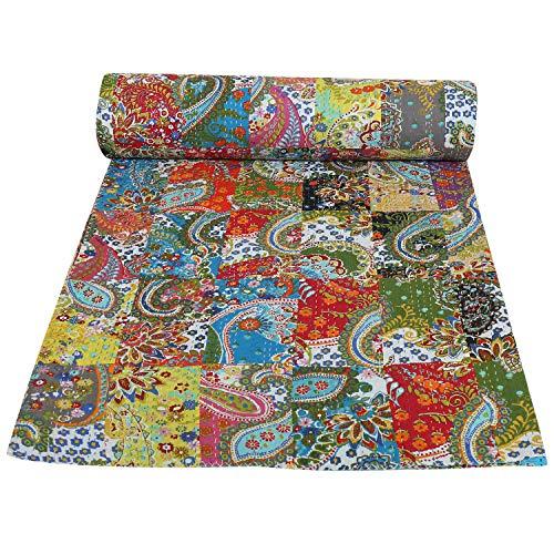 Janki Creation 100% Coton Kantha Style Queen Taille lit Propagation de Patchwork Multicolore Gudri Jeté de lit, AC Couette, Couvre-lit de Bohême