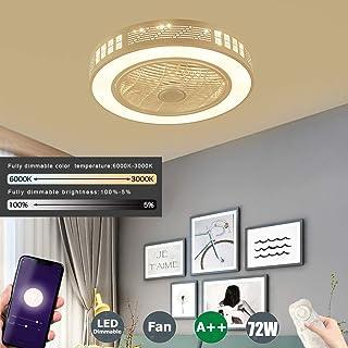 SFOXI Ventilador de Techo con Luz y Mando a Distancia Silencioso APP Telecomando a Distanza LED Regulable Moderna Lámpara LED Techo Dormitorio Guardería Plafón Fan Ø55CM