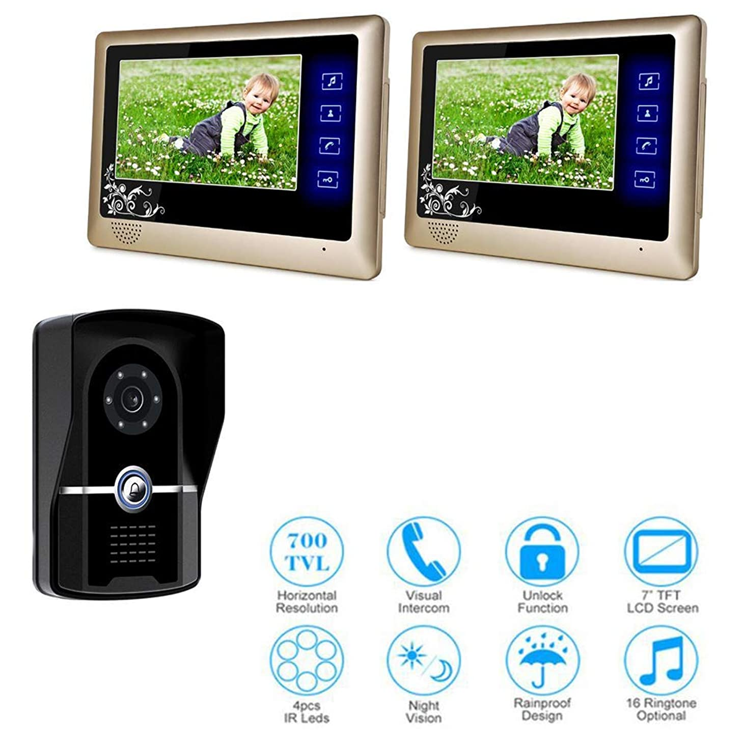 JINPENGPEN 7-inch Smart Video doorbell Remote intercom Access Control System HD Infrared Camera,1/2
