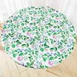 Vinyl Elastic Round Fitted Table Cover, Reusable Waterproof Plastic Tablecloth with Flannel Backing, Birds and Flowers Pattern, Fits Large Round Tables 45