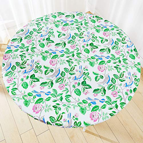 Vinyl Elastic Round Fitted Table Cover, Reusable Waterproof Plastic Tablecloth with Flannel Backing, Birds and Flowers Pattern, Fits Large Round Tables 45' to 56' Diameter, Outdoor Picnic Table Cloths