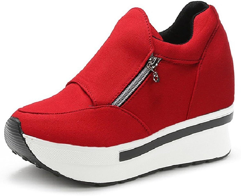 CYBLING Women Anti-Slip Slip On Wedge Sneakers with Zipper Platform Hidden High Heels shoes