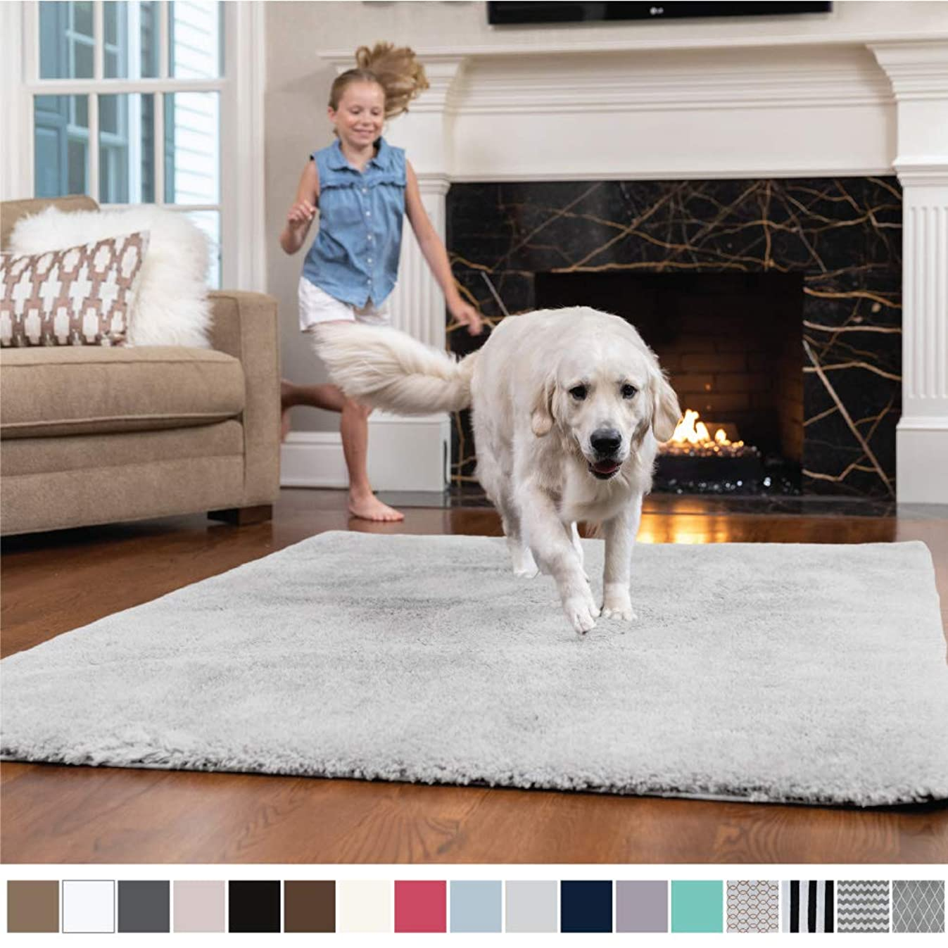 GORILLA GRIP Original Faux-Chinchilla Nursery Area Rug, (4' x 6') Super Soft & Cozy High Pile Machine Washable Carpet, Modern Rugs for Floor, Luxury Shag Carpets for Home Bed/Living Room (Light Gray)