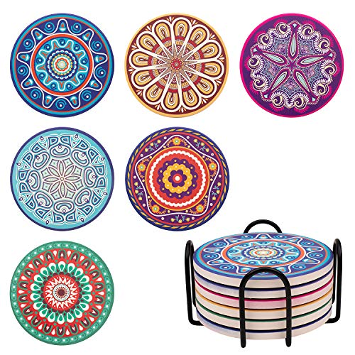 Coasters for Drinks Absorbent with Holder, 6 Pcs Drink Coasters Cork Base, A Gift for Wedding Birthday Housewarming Party (Boho)