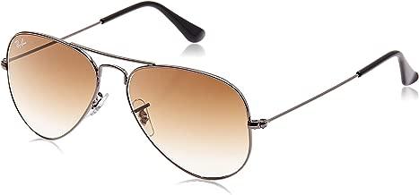 RAY-BAN RB3025 Aviator Large Metal Sunglasses, Gunmetal/Brown Gradient, 55 mm