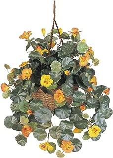 Nearly Natural Home Decorative Nasturtium Silk Hanging Basket