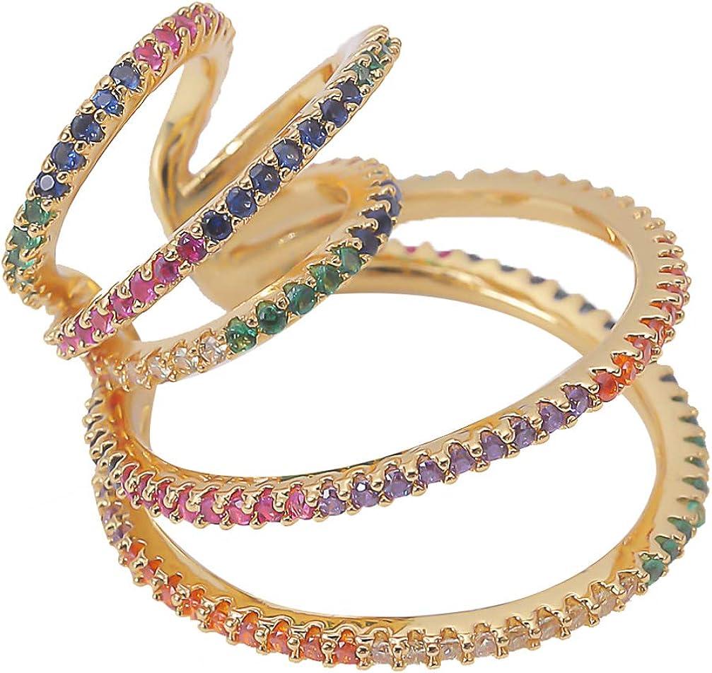 Happyyami Ear Cuff Wrap Earrings Non-piercing Rhinestone Earring Ear Jewelry (Single ear)
