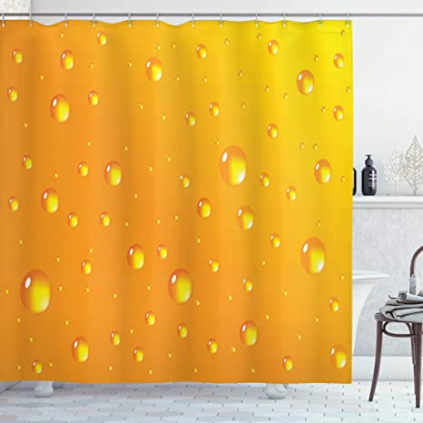Ambesonne Abstract Shower Curtain Water Rain Drops Style Bubbles On Vibrant Background Pastel Sotf Serene Design Art Cloth Fabric Bathroom Decor Set With Hooks 70 Long Marigold Home Kitchen