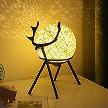 SoeHong USB Maan Warm Nachtlampje met Herten Stand Nachtkastje Desktop Bal LED Lamp Verstelbare Handgeweven Lampenkap Slaa...