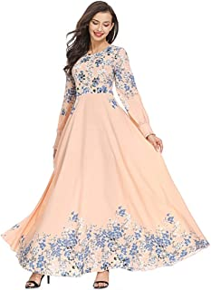 Women Floral Printed Long Dress ❀ Ladies Muslim High Waist O-neck Long Sleeve Arab Dress Islam Jilbab Dress