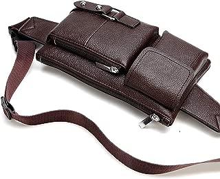 Men Women Brown Leather Fanny Packs Bum Bag, Multifunction Adjustable Vintage Wasit Bag, Hip Belt Bag