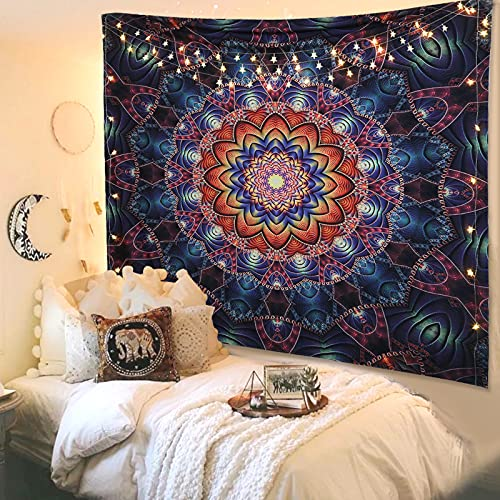 Large Boho Wall Tapestry Peacock Mandala Tapestries with 6m lights,...
