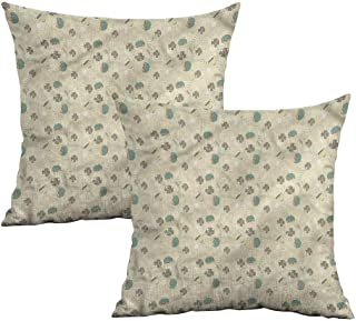 Khaki home Vintage Square Pillowcase Covers with Zipper Floral Artistic Ornate Square Standard Pillowcase Cushion Cases Pillowcases for Sofa Bedroom Car W 14