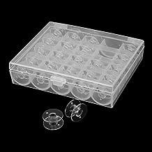 HASTHIP® 25 Pcs Transparent Plastic Sewing Machine Bobbins with Case with Storage Box for Elna Machine Empty Bobbin