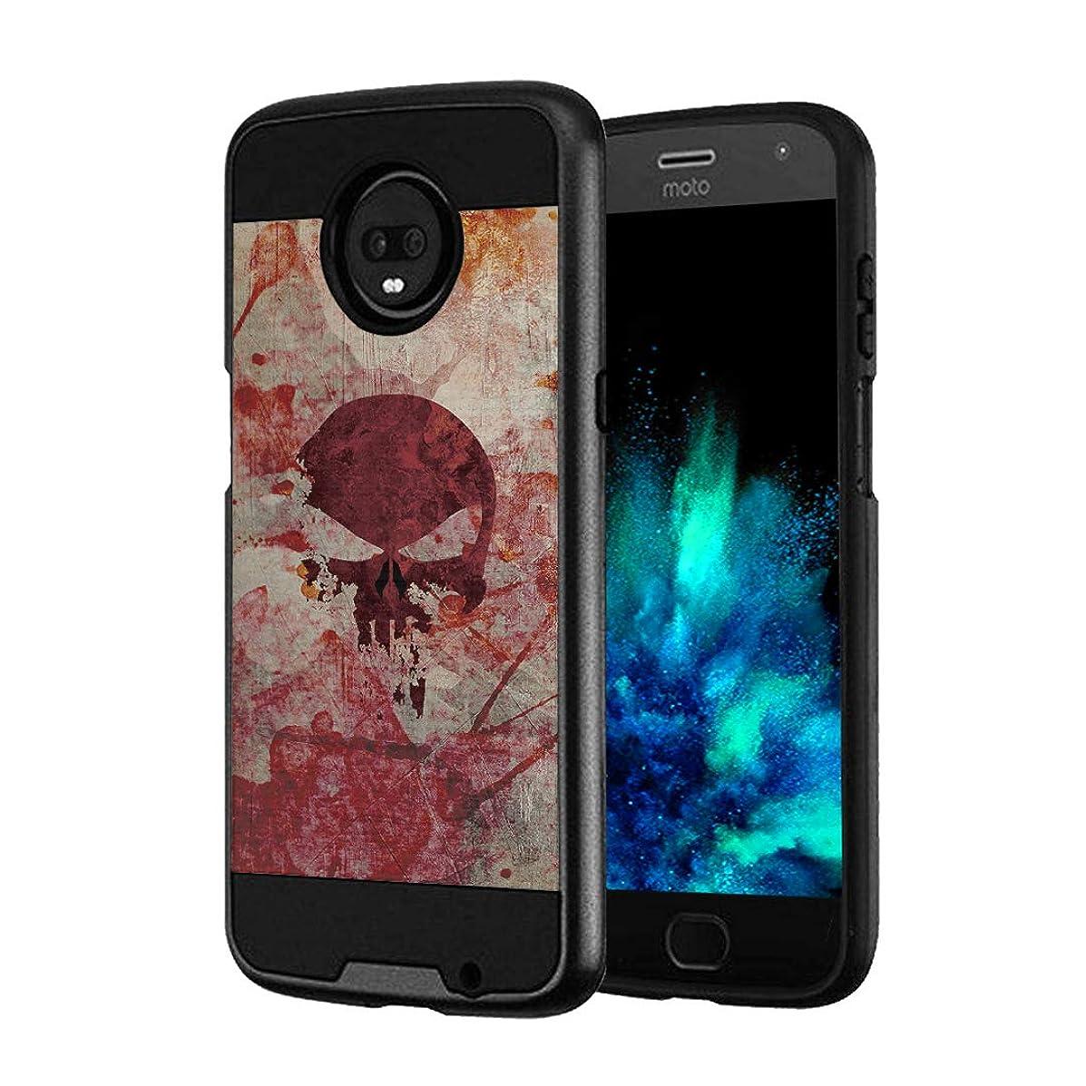 Capsule Case Compatible with Moto Z3, Moto Z3 Play (2018) [Hybrid Fusion Dual Layer Slick Armor Case Black] for Motorola Moto Z3 - (Red Skull)
