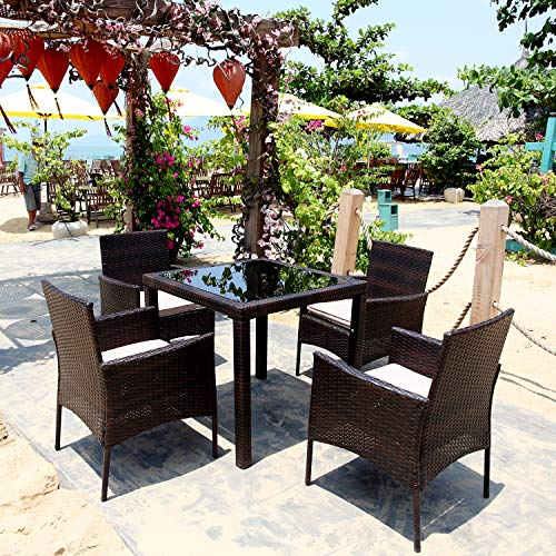 M&W 5 Piece Outdoor Dining Set, PE Wicker Rattan Patio Furniture, 4 Cushioned Chairs and 1 Square Table with Tempered Glass Top for Garden, Backyard, Porch, Balcony, Lawn, Poolside