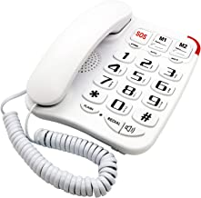 KerLiTar K-P045W Amplified Corded Phone for Seniors Large Button Phone with Pictures Big Keys Dementia Phone with Speakerphone SOS Speed Dial Wall Mountable Desk Phone