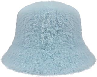 Furry Bucket Hat for Girls Women, Winter Bucket Hat Solid...