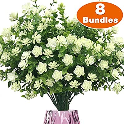 TURNMEON Artificial Flowers Outdoor, 8 Bundles Faux Flowers Plants Outdoor UV Resistant Greenery Shrubs Plants Artificial Fake Flowers Indoor Outside Hanging Planter Home Garden Decor(White)