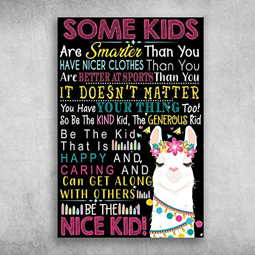 Some Kids are Smarter Than You Have Nicer Clothes Llama Wall Art Print Poster Canvas Gallery Wraps Wall Decoration
