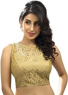 Women's Designer Fine Zari Floral Pattern Net Saree Blouse Gold