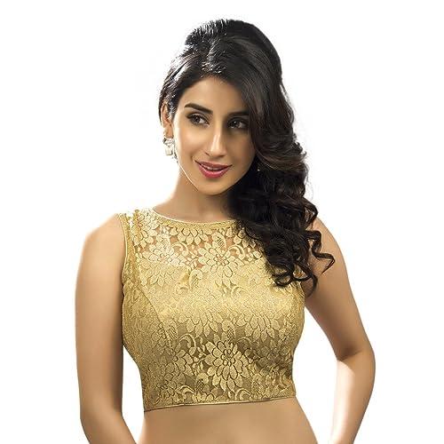 8d0cd35d8b7315 Bollywood Blouses Women s Designer Fine Zari Floral Pattern Net Saree  Blouse Gold