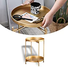 """Gold Round Metal End Table 2-Tier Tray Side Table Accent Coffee Table 14""""Dx20""""H"""