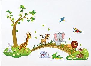 Kibi Pagatinas Animales Adhesivos Pared Decorativos Animales /Árbol De Puente De Madera Etiqueta De La Pared Infantil Extra/íble Pegatinas De Pared Stickers Infantiles Animales Dormitorio Ni/ños Bebe
