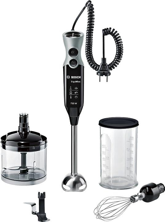 Frullatore mixer a immersione bosch msm67170 ergommixx,750 w, 1 litro, 50 decibel, plastica, nero/grigio