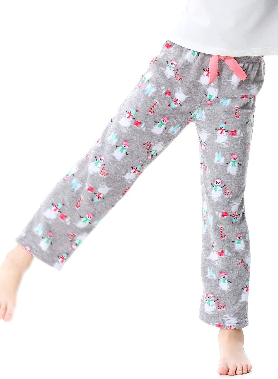 Image of Cute Fleece Snowman Pajama Pants for Girls