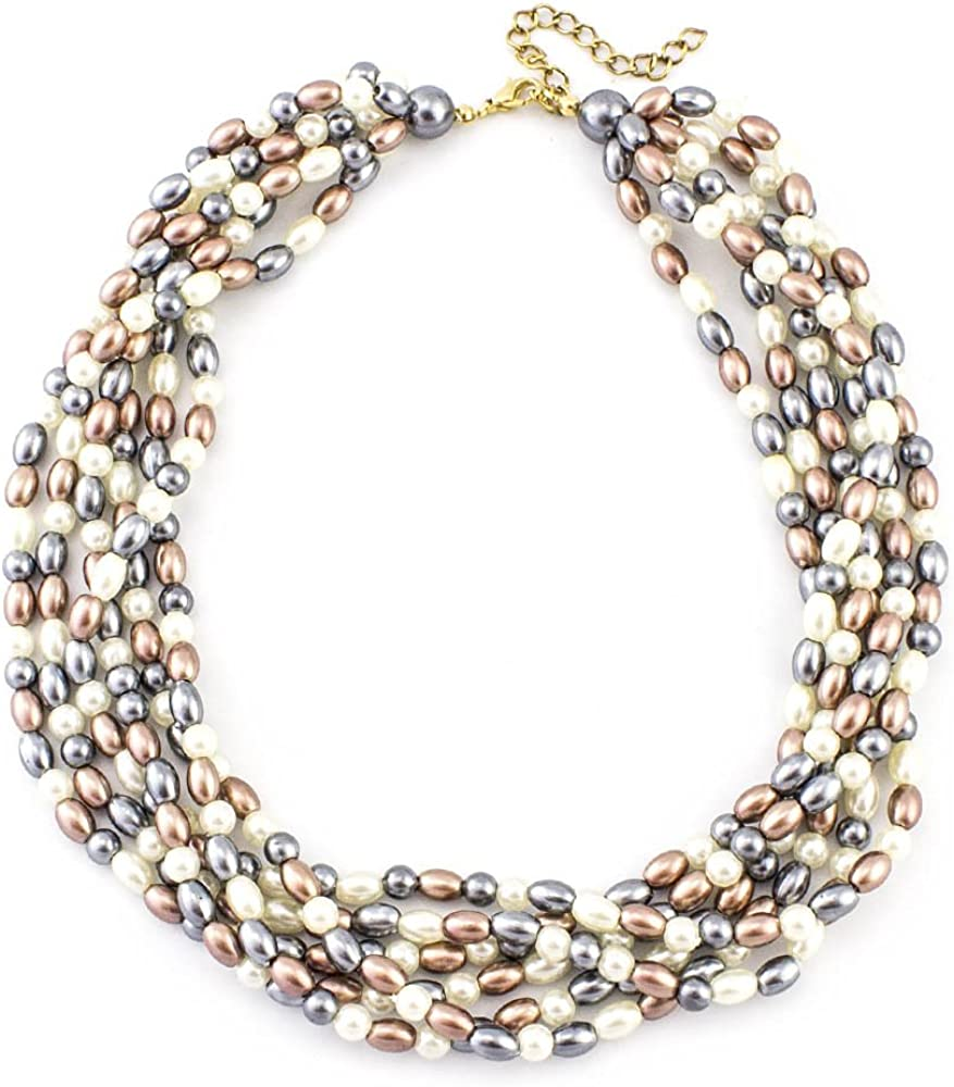 LookLove Multi Strand Pearl Bead Necklace with Extender