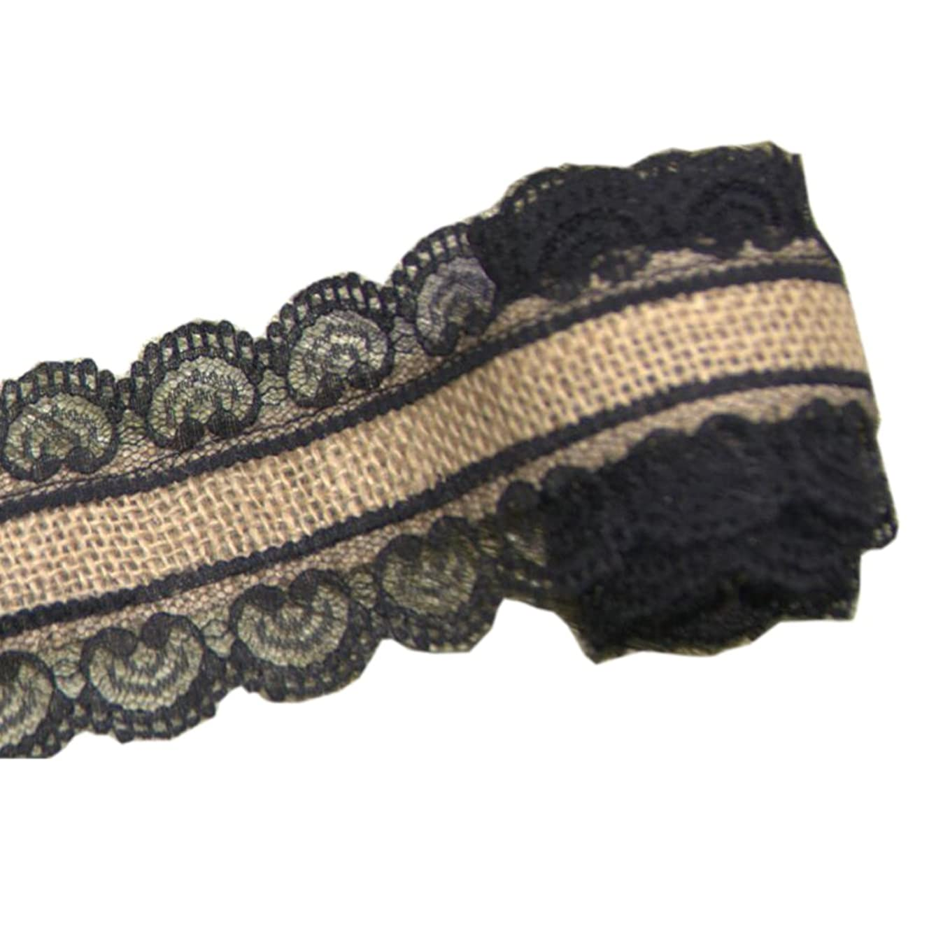 Jute Burlap Ribbon Roll with Black Lace 1