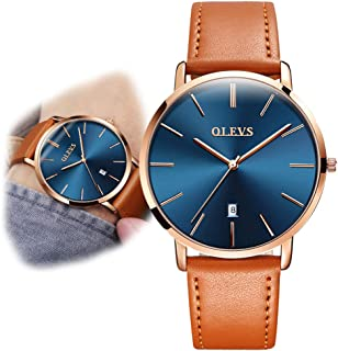 OLEVS Minimalist New Men's Ultra Thin Retro Yellow/Brown/Black/Deep Blue PU Leather Band Quartz Wrist Watches, Waterproof & Calendar Window Father's Day Gifts