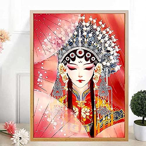 YHJK Pintura en Lienzo con Personajes de la ópera de Pekín, póster de Pintura de Estilo Chino, Mural Huadan, Sala de Estar, decoración del hogar, Pintura, 60x80cm sin Marco