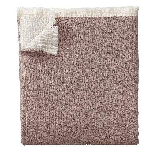 URBANARA 240 x 265 cm Tagesdecke/Plaid 'Anaba' Terrakotta/Naturweiß – 100prozent Reine Baumwolle – Perfekt als Bettüberwurf oder Kuscheldecke — Stonewashed-Effekt — geeignet für Einzel- & Doppelbett