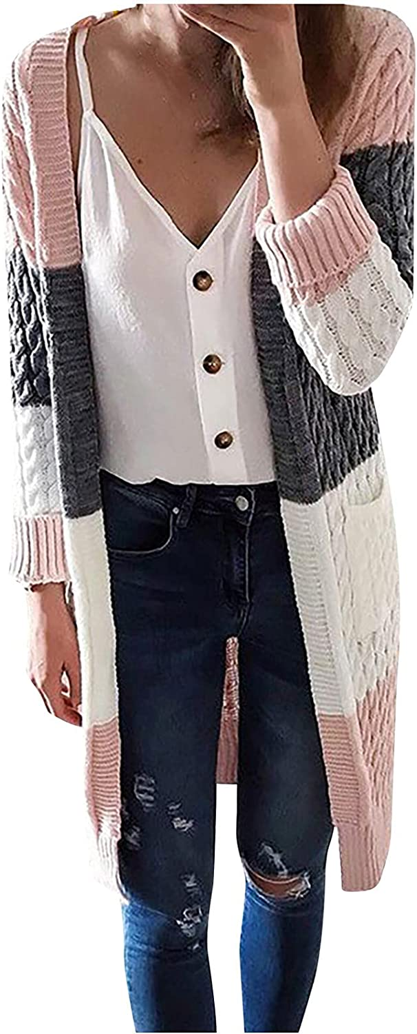Women Open Front Long Cardigans, Fashion Vintage Fit Sweater Coats Color Block Chunky Knitted Elegant Jackets Outwear