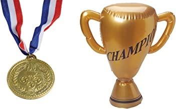 U.S. Toy Replica Olympic Medal Necklaces Inflatable Trophy 13 Piece Bundle Party Favor Set