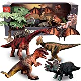 Dinosaur Model Toy Set of Realistic Jurassic World Toys Dinosaur Toy Set with Tyrannosaurus, Euoplocephalus, Triceratops and Pterosauria Jurassic World Dinosaurs, Dinosaur Toys for Kids 3-5