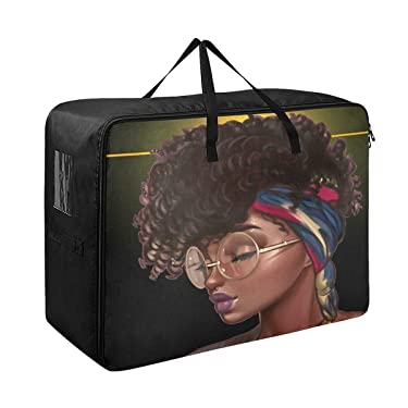 Blueangle Beautiful Lady Storage Bags for Closet King Comforter, Clothes, Blanket Organizers Heavy Fabric Space Saver