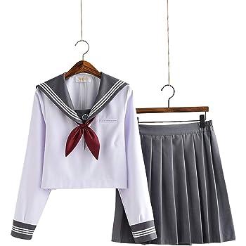 【小松丸】グレーの襟 セーラー服 長袖 半袖 白い グレー 金魚結び リボン 制服 学生 5点セット 靴下付き(黒) (長袖5点セットA, XXL)