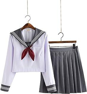 【小松丸】グレーの襟 セーラー服 長袖 半袖 白い グレー 金魚結び リボン 制服 学生 5点セット 靴下付き(黒) (長袖5点セットA, L)