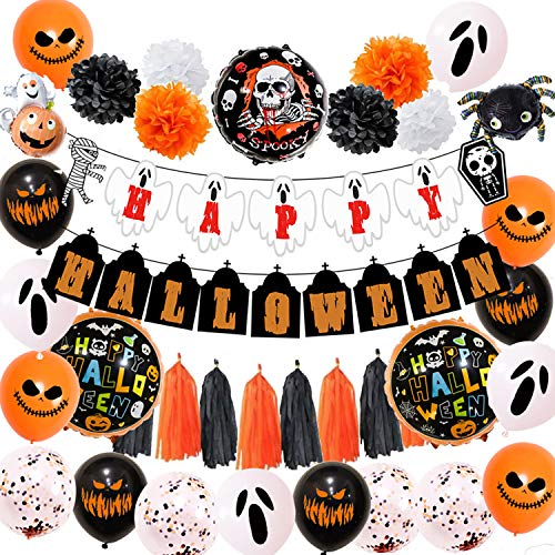 Halloween Party Decoration Set Happy Halloween Party Decor Halloween Balloons Banner Supplies Fun Accessories Include Halloween Banner, Latex Balloons, Tissue Paper pom poms Flowers and Tassels