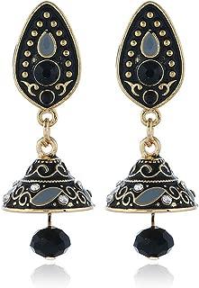niumanery Retro Ethnic Enamel Bollywood Kundan Jhumka Jhumki Crystal Drop Earrings Jewelry Black