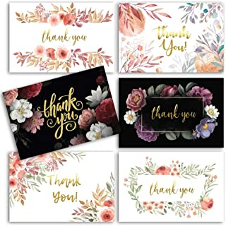96 Floral Thank You Cards with Envelopes w Gold Foil Word and Matching Invitations   Bridal Shower Thank You Cards - Bulk Thank You Cards - Perfect for wedding bridesmaid thank you cards