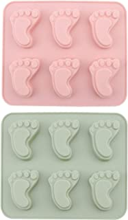 Chokov 2Pcs Baby Footprint Molds Foot Step Silicone Fondant Molds for Baby Shower Birthday Cake Decoration Candy Chocolate Cupcake Topper Decorating