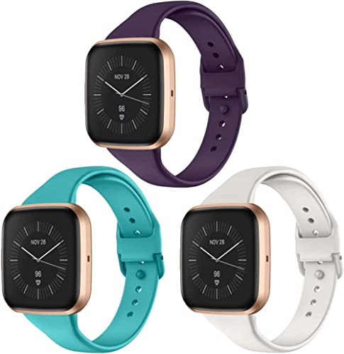 CAVN 3 Pcs Sport Bands Compatible with Fitbit Versa 2 / Versa/Versa Lite, Bands for Women Men Silicone Narrow Watch S...