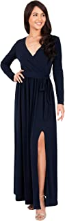 KOH KOH Womens Long Sleeve V-Neck Cross Over High Slit Cocktail Evening Gown Maxi Dress